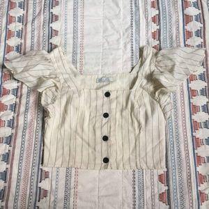 Zara Striped Linen Crop Top